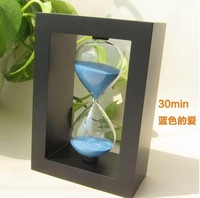Leisure Romantic household adornment Sandglass Hourglass Glass Sand 30 Minutes Sand Timer Big Size blue