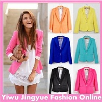 Fashion Women Blazer Jacket Suit  Candy Color One Button Tunic Striped  Foldable Sleeve Outerwear Coat 6 Colors Free Shipping