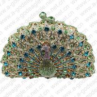 green HK AB cheap crystal animal clutch peacock handmade bag for elegant ladies on wedding parties