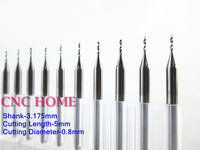 High Quality 10pcs 3.175*0.8*5MM Hard Alloy PCB Milling Cutter, Import CNC Router Bits, Cutting Tools for Aluminum, Acrylic, PVC