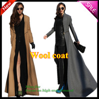 Plus size Wool Coats blends  new 2013 fashion autumn winter women long coat the female cashmere casual outwear coats tweeds blue