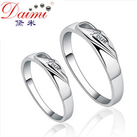 DAIMI 925 Sterling Silver Ring Love  For Both Woman and Man One Pair