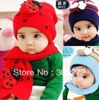 New style baby boys/girls red Hat+scarf set,Santa/christmas/x'mas Baby Hats With Scarf (2 set/lot)