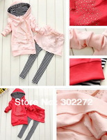 Factory price,hot sell~New style baby girl's sports suit ,baby mickey  hoody skirt pants sets ,(1set/lot)