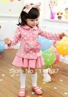 2014~Hot sell ,New autumn /spring baby girl's bow long sleeve top coat+skirt ) 2pcs cloting set ,(1set/lot)