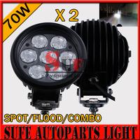 Free DHL Ship 2pcs 6'' 70w LED Driving Light 10-30v Offroad Light 4x4 tractor Driving Light For SUV ATV 4X4 LED Work Light 60W