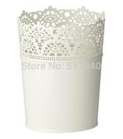 2 pieces/lot  white color galvanized steel garden plant pot
