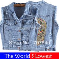 summer dress 2014 Women Fashion skull a waistcoat jeans jacket women denim vest cowboy outerwear woman jeans vest