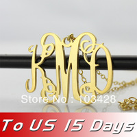 """New Personalized Sterling Silver Jewelry Monogram Necklace 18k Plated Gold Initial Name Necklace 1.25"""" Delivery To US 2 weeks"""