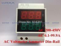 AC200-450V AC0.1-99.9A DIN-RAIL Dual led display Digital ac voltmeter ammeter  test three phase voltage volt meter