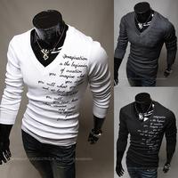 Men T-shirts,Man Shirt,New Fashion Letters Printing Men's Long-Sleeved Slim Shirt, 3 Color Option Size: M,L,XL,XXL