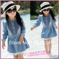 Free shipping Retail new autumn children's clothing girls casual princess dresses kids cotton thin denim long-sleeve dress 00048