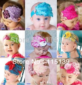 Min order $10 --  Beautiful Feather Headband hairband Baby Girls  headbands/' hair accessories Baby Christmas gift