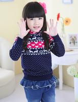 free shipping  new fashion female children's wear cotton sweaters turtleneck sweater girl long sleeve knit sweater