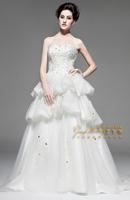 Free Shipping NW32010 Luxury 100%Satin Beaded Diamond Wedding Bra Small tail Wedding Dress 2013 Summer Newest