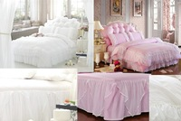 Free shipping! White lace Korean textile Family of four bedding set full size duvet covers / bed sheet / Pillowcase dichroism