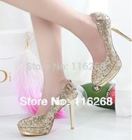 women pumps  women's shoes platform Golden red bride wedding  her shoes  sapatos femininos high heels zapatos mujer