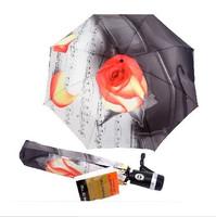 The Rose Flower Painting 3 Folding Umbrella Anti UV Rain Umbrella Women Fully Automatic Umbrellas Free Shipping