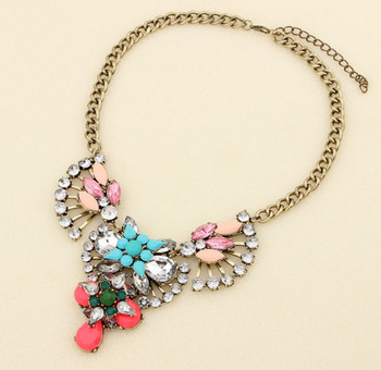New Arrive Design Dazzling Resin Crystal Gem Beads Pendant Chain Statement Necklace Fashion Jewelry Gifts For Women N0034