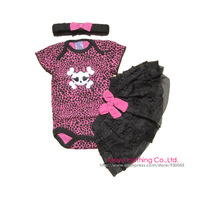 Free Shipping 2013 Fashion 3Pcs Infant Newborn Kids Baby Girls Headband+Bodysuit+Skirt Jumpsuit Outfit Sets Suit Clothes Leopard