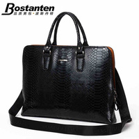 Luxury quality snake pattern cowhide official package business casual Genuine leather handbag briefcase for men