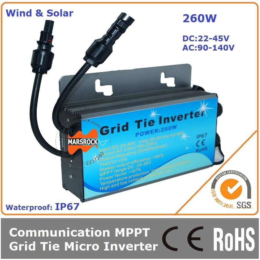 260W 22-45VDC 90-140VAC 50/60Hz Waterproof IP67 Grid tie micro solar wind inverter with  communicative function(China (Mainland))