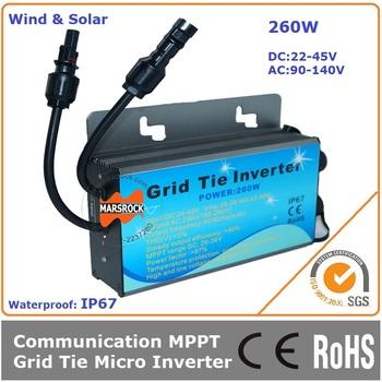260W 22-45VDC 90-140VAC 50/60Hz Waterproof IP67 solar grid tie micro inverter with monitoring function