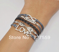 (Min Order $8) Charms Bangle Antique Infinity Slive Owl,Peace,Love Cotton Rope Men Leather Bracelet Fashion Women Jewelry