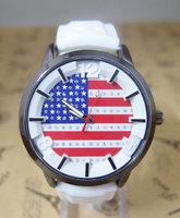 Holiday sale New arrival Casual USA Flag Silicone Watch Women Men Fashion dress Quartz Wrist Watch cg-2