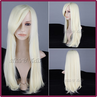 Free Shipping 65cm long fashion lady synthetic straight wigs cosplay costume wig blonde color for women