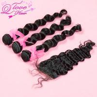 brazilian virgin hair gaga hair,loose wave 1 piece lace top closure with 3pcs hair bundles,bleached knots
