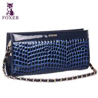 FOXER women genuine leather bag cowhide evening  handbag shoulder bags fashion clutch bags designer brand women leather handbags