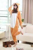 Flannel Rilakkuma Bear Pyjamas Anime Cosplay Costume Footed Animal Pajamas Hooded Jumpsuit Kawaii Adult Onesie