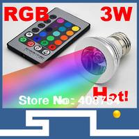 4W COB LED Lamp E27 85-265V  RGB LED Light Spotlight Bulb Lamp with Remote Controller For Home Bar,5pcs/lot,free shipping