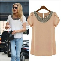 S M L XL XXL XXXL 4XL Plus Size 2014 New Women Fashion Hot Sale Vintange Beading Big Size Chiffon Blouse Shirt, Pink White 429H