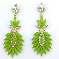 2013 Fashion Neon Green Resin  Women Jewelry Statement  Blending Resin Luxury Drop Earrings Free Shipping