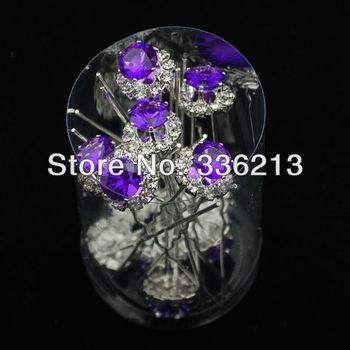 Purple Resin Rhinestone Hair Ornament Pins, Hair Accessories