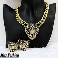 New Hotselling Hip Hip Bling Gold and Black Enameled Leopard Necklace earrings  bracelet Jewelry Set