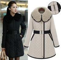 Autumn and winter 2014 fashion latest Korean thickened Garnett and the wind elegant long sections of lamb fur collar cotton coat