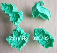 4pcs/set Free shipping  leaves shape biscuit machine plunger paste sugar craft decoration 020026