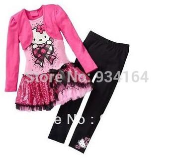 2014 Hot Sale New Arrival Child Girl Suit Long Sleeve False 2pcs Hello Kitty Dress+Black Pants Girl clothing Set