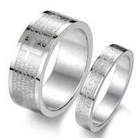 Good Quality Men Jewelry Cheap Fashion Silver 316L Stainless Steel Etching Spanish Lord's Prayer Band Ring 4mm/8mm Couples Rings