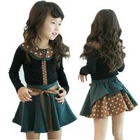 2014 New Kids Girls Polka dot Lapel Blouse T-shirt+Bow Pleat Tutu Skirts 2pcs Children Sets Outfits