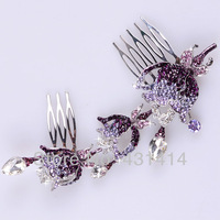 Fashion Bridal Rose Hair Accessory,Pagent Fat Plug Luxury Rhinestone Insert Comb Hair Professional Maker Comb Women Hairwear
