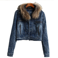 2014 Fall and Winter Casual Clothes Slim Short Denim Jacket Zipper Real Sable Mink Fur Collar Punk Coat Blue Bleached Clothing