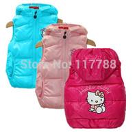 Retail New 2014 autumn/winter hello kitty girls vest&coat, children vest&coat, waistcoat for girls, Free Shipping