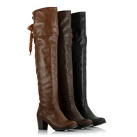 Free shipping  senior leather fashion back strap high-heeled boots tall plus size boots.