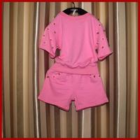 summer girl set 2 pcs set kid sport twinset shirt with shorts wholesale 5pcs/lot 100% cotton 90-130cm children summer two set