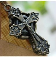 100PCS/lot Jesus cross necklace vintage brass watches/antique necklace quartz watch men and women reloj wholesale63742
