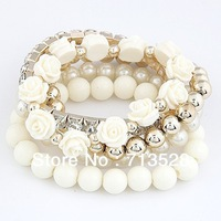 Min order $10 (mix order)Mix flower beads stretch bracelet temperament fashion bangle bead bracelet